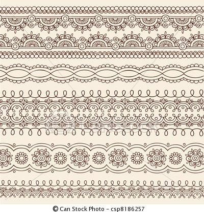 Vector - Henna Doodle Border Designs Vector - stock illustration, royalty free illustrations, stock clip art icon, stock clipart icons, logo, line art, EPS picture, pictures, graphic, graphics, drawing, drawings, vector image, artwork, EPS vector art