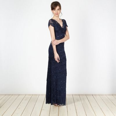 Debut Dark blue lace pleated maxi dress- at Debenhams.com - cant decide if this is great or granny?