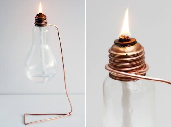 Öllampe aus einer alten Glühbirne: Upcycling Idee für die Kreativ durch den Monat Challenge {DIY}
