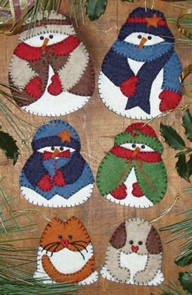 Snow Folk Ornament Kit-2-1/2 To 4 Set Of Six