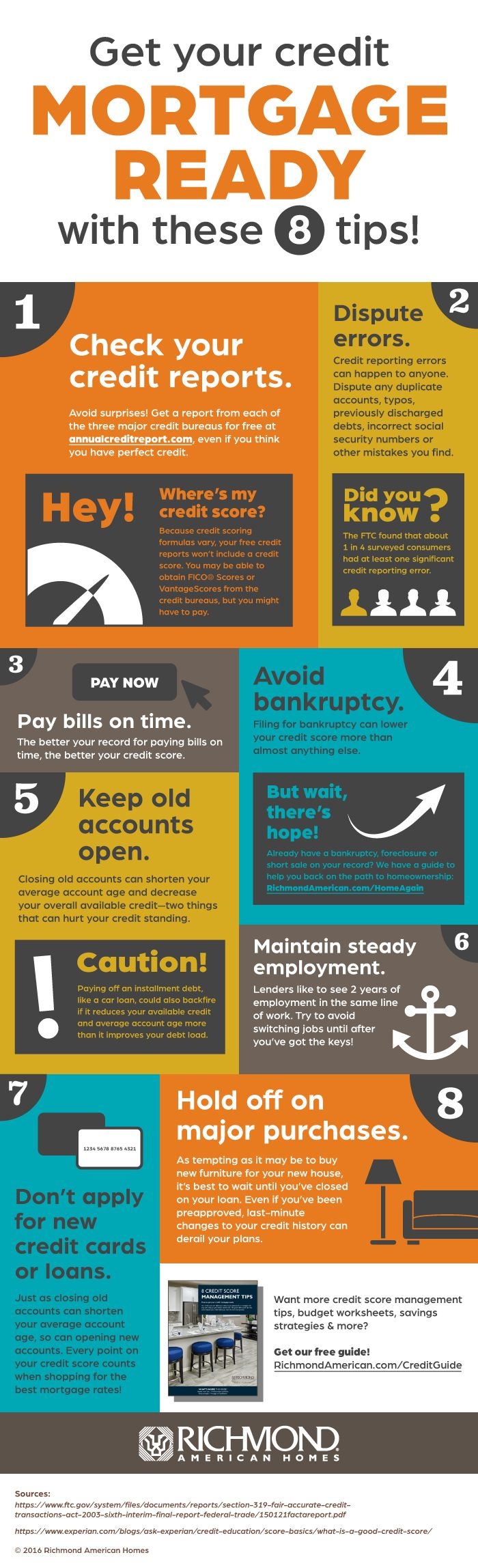 Get your credit mortgage ready with these 8 tips! | #infographic by Richmond American Homes