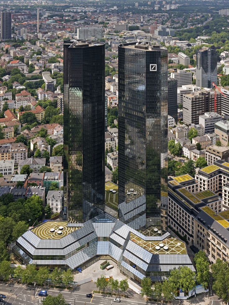 The Deutsche Bank Twin Towers is a twin tower skyscraper complex in Frankfurt, Germany, which serves as the headquarters of Deutsche Bank. Each rising to 155 metres (509 ft) in height, the towers began construction in 1979. Photo: Jürgen Matern