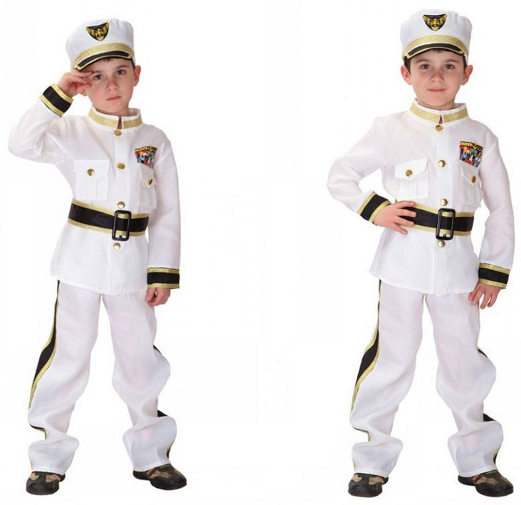 Free Shipping Children Police Pilot Costumes for Boys Christmas Carnival Halloween Fancy Dress Costume Kids Navy Cosplay Clothes