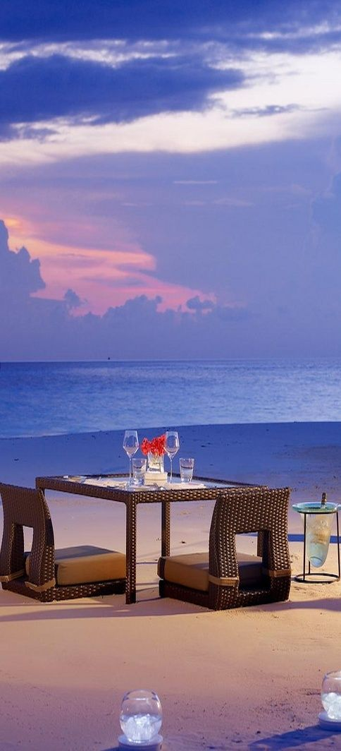Dinner on the beach in the maldives...