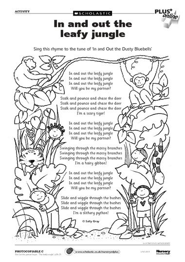 In and Out of the Leafy Jungle- what a fun action song!
