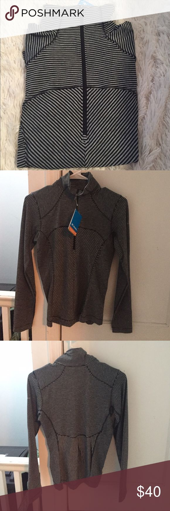 Colombia Sportswear Top Grey color with black striped Colombia xs size sportswear. But can easily fit to small and medium sizes as well . New with the tag. Omni-shade upf 40 sun protection . Recommend by  Skin Cancer Foundation. Colombia Other