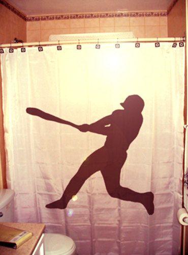 Baseball Shower Curtain Player kids bathroom bath decor bat swing ball game hitter pitcher catcher glove gift simple design calm silhouette