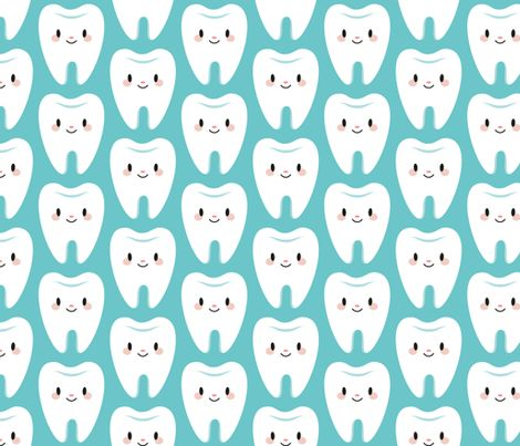Cute molar teeth (blue) fabric by petitspixels on Spoonflower - custom fabric