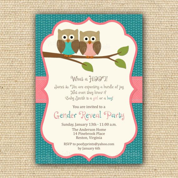Owl theme gender reveal: Owl Baby Showers, Gender Reveal Parties, Owl Babies, Party Invitations, Owl Theme, Cards Layout, Parties Ideas, Parties Invitations, Gender Reveal Invitations