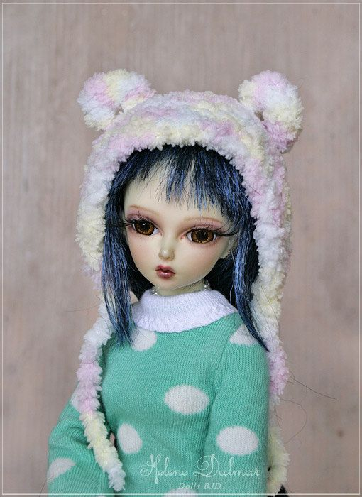 1/4   BJD Knitting Soft Cap with Ears format by AldanaDollyBears