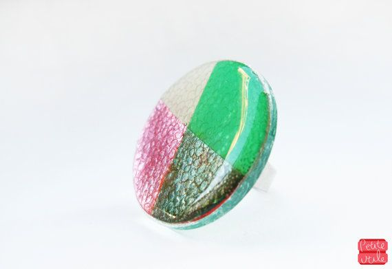 Geometric Statement Ring, Large Spectrum Ring, Pink and Green Resin Ring, Plaid Jewelry, Womens Adjustable Ring, 80's Inspired, Plastic