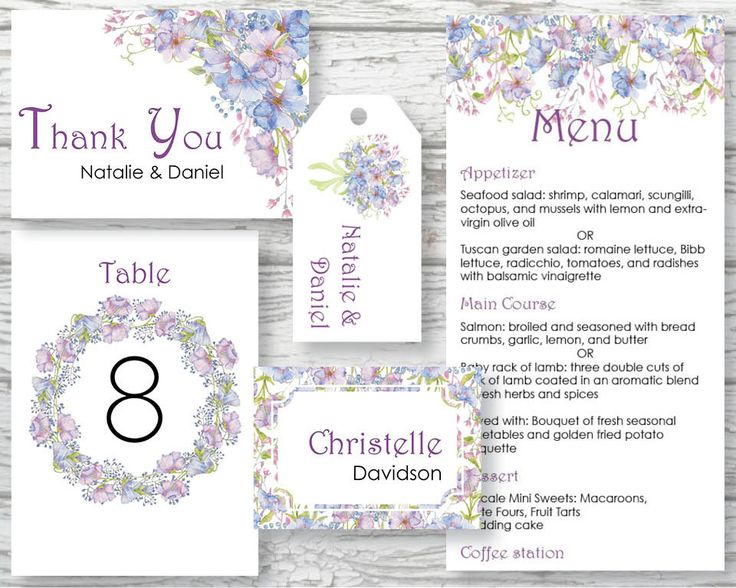 Wedding suite; wedding day stationery; hand painted watercolor Cornflowers; includes custom text; printable wedding stationery by LollysLaneShoppe on Etsy