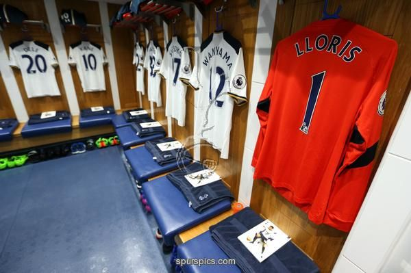 LONDON, ENGLAND - FEBRUARY 26: The shirt to be worn by Hugo Lloris of Tottenham Hotspur hangs in the dressing room prior to the Premier League match between Tottenham Hotspur and Stoke City at White Hart Lane on February 26, 2017 in London, England