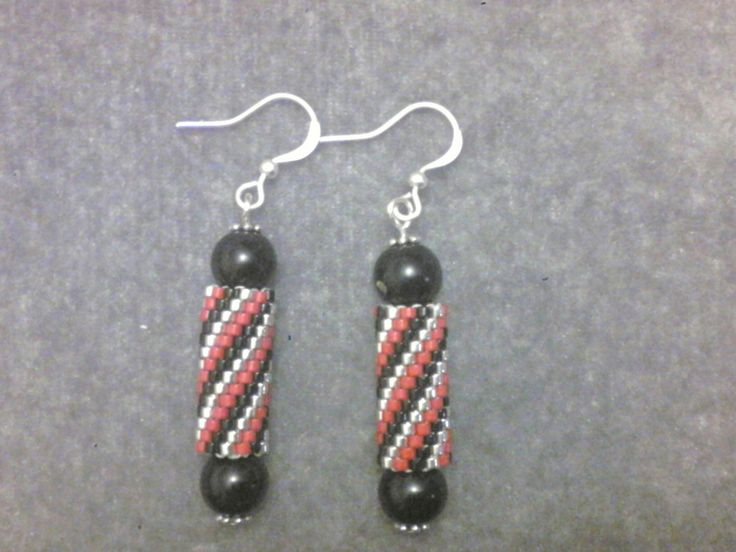 Tubular peyote, peyote stitch earrings by joannezjewelry on Etsy