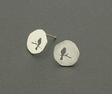 Oorringen - Vogels silhouet, oorbellen in zilver - Een uniek product van KatalinkaDesign op DaWanda