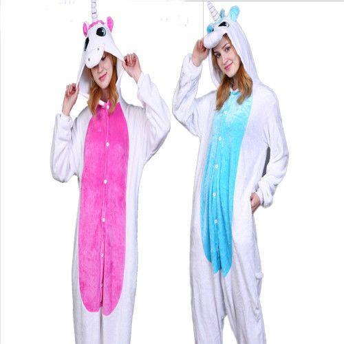 Einhorn Adult Jumpsuit Kostum Pyjamas Cartoon Fasching Sleepsuit