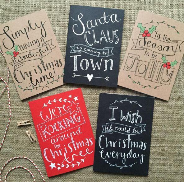 Kartki świąteczne DIY, ręcznie robione kartki świąteczne, fot. instagram.com/paper_fudge