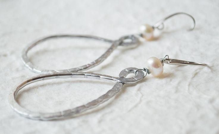 Earrings Wire Wrapped Jewelry Handmade  Silver aluminum wire earrings Dangle Earrings Fresh Water Pearls by UnikacreazioniShop on Etsy