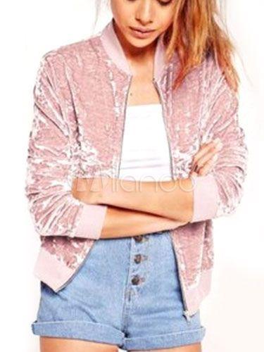 Pink Velvet Jacket Women's Long Sleeve Zip Up Casual Short Jackets