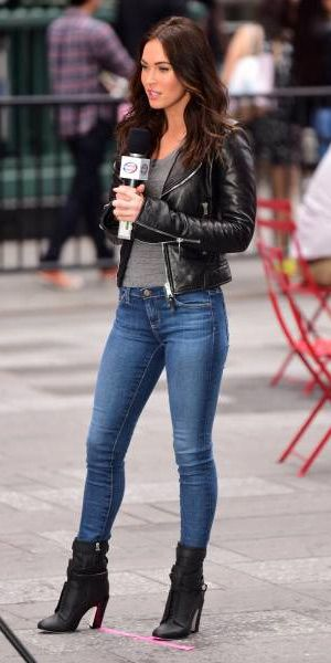 Megan Fox filming 'Teenage Mutant Ninja Turtles 2′ in New York (May 11, 2015), wearing a Joie Ailey Leather Jacket, an  Alexa Chung for AG The Perfect Tee top, AG Jeans and  Fendi Diana Leather Ankle Boots. #meganfox #style
