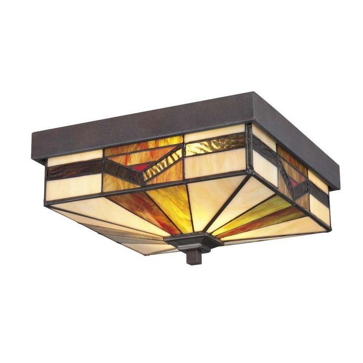 allen + roth Vistora 11-in W Bronze Outdoor Flush-Mount Light