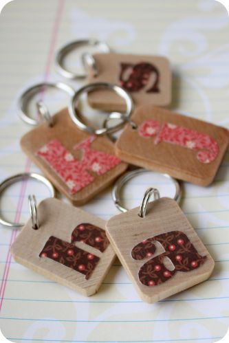 Monogram key fob- modpodged letter. Could use Big Shot & dies to cut out letters.