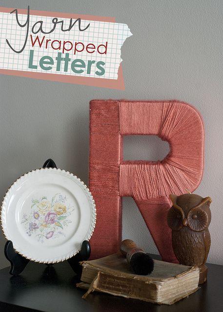 letters by jenloveskev, via FlickrDiy Ideas, Crafts Ideas, Diy Crafts, Yarns Wraps Letters, Cute Ideas, Yarns Letters, Handmade Gift, Cardboard Letters, Diy Yarns