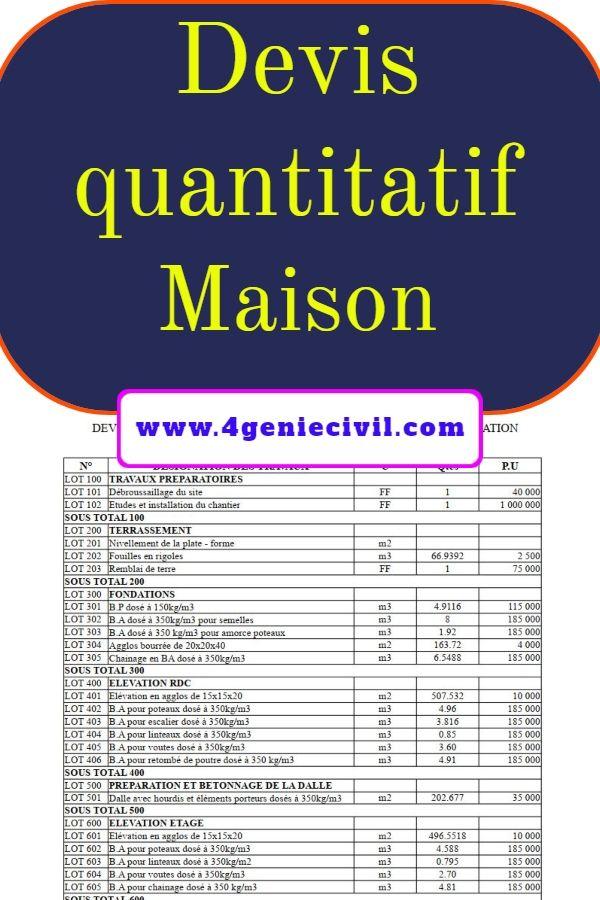 devis quantitatif estimatif bâtiment pdf | Exemple devis ...