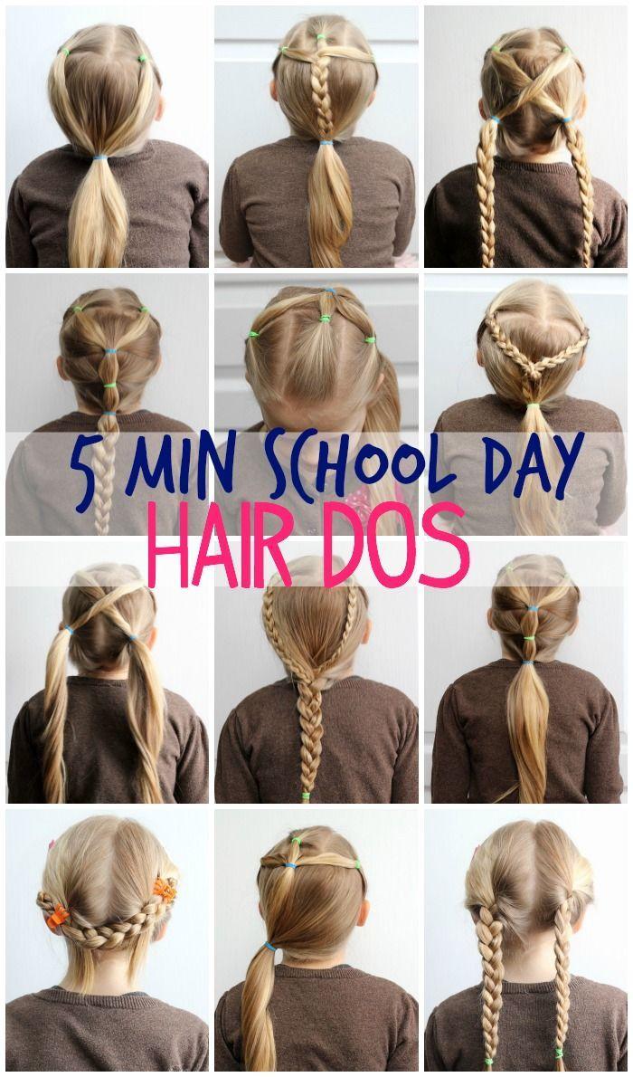 5 Minute School Day Hair Styles Hair Hair Styles Girl