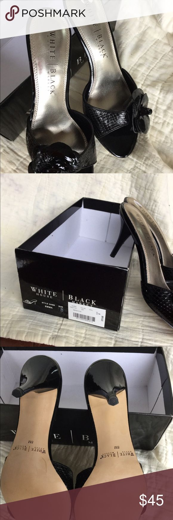 Black Patent Leather Snake Kitten Heel Mule Sandal Black patent snake embossed leather kitten heel mules with patent rose detail. Very sexy on! Size 8M.  Never worn, therefore in new condition.  Paid $78.00 at White House Black Market. White House Black Market Shoes Sandals