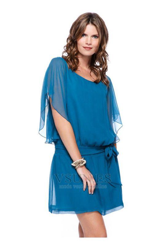 Vestido de graduacion Gasa Manzana Fajas Cintura Baja Corto Corte-A