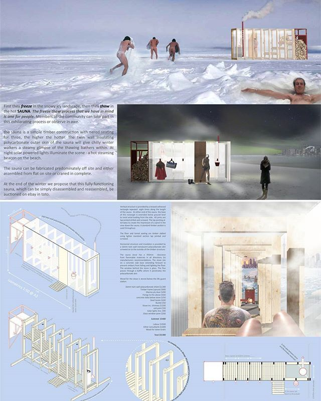 We are thrilled to announce the winners of this year's #winterstations #designcompetition - In no particular order - #sauna by FFLO (Claire Furnley and James Fox) of #tunbridgewells #kent #unitedkingdom.  #architecture #art #design #publicart #winterscape #warminghuts #winter #snow #ice #landscape #landscapearchitecture #interiordesign #rendering #winterart #artintervention #kewbeach #balmybeach #ashbridges #toronto #ontario #fflo #architecturecompetition