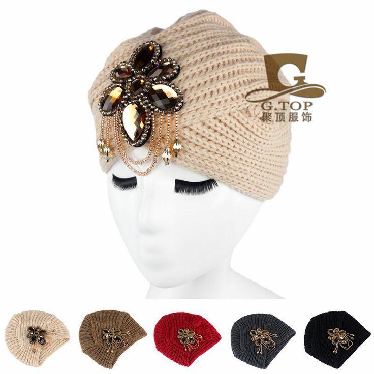 Cheap beanie beige, Buy Quality beanie helmet directly from China beanie visor Suppliers: New Women knitted headbands Metal Jewel Accessory Turban Winter Floral Turban crochet headwrap Beanie Girl Headband G-13