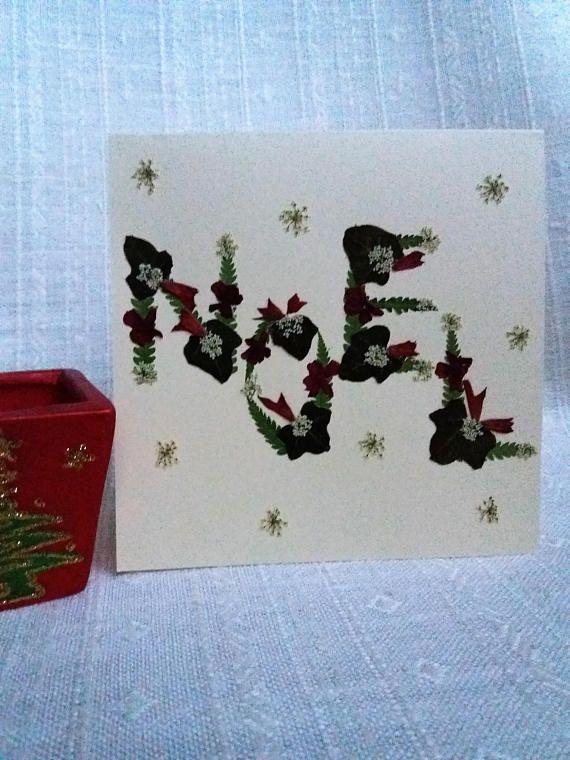 NOEL Christmas Greeting card. Real pressed flowers design