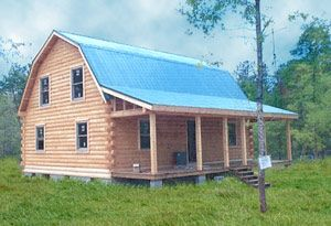 Gambrel Barn Homes | Coventry Log Homes | Our Log Home Designs | Tradesman Series Kinda small for my shop though it would make a great starter. I could always add on. I love the blue metal roof though.