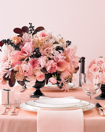 peach and dark brown / black low floral centrepiece