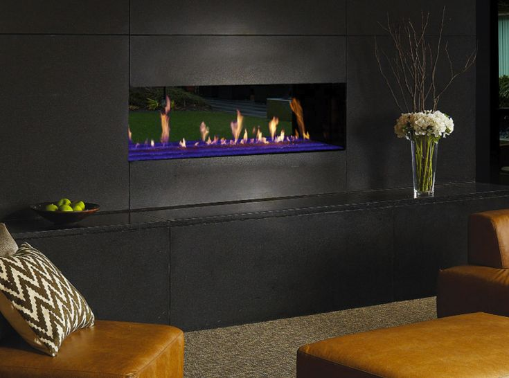 The Davinci Custom Linear See-Thru fireplace provides a beautiful display of fire. Fireplace Store & see through fireplace in San Jose, Campbell & Gilroy.
