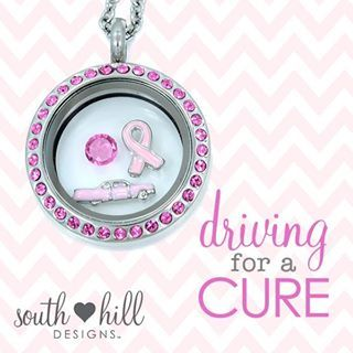 Driving for a cure South Hill Designs locket, breast cancer awareness.  www.SouthHillDesigns.com/vickibutcher