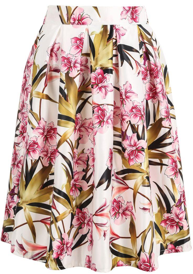 White Bamboo Leaves Print Midi Skirt - Sheinside.com