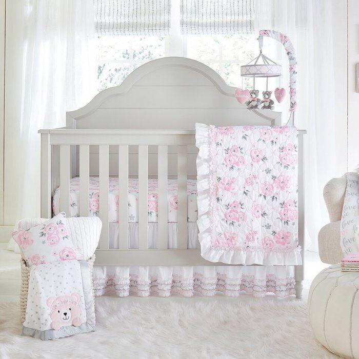 Sunnydale 4 Piece Crib Bedding Set Floral Crib Bedding Crib Bedding Girl Crib Bedding