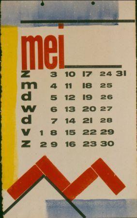 H.N. Werkman - Calendar page for De Ploeg (Art collective of Groningen), 1930