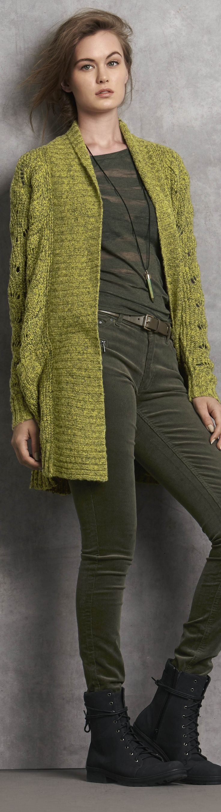 Light over dark or dark over light can make you look skinny. And, almost all greens go with other greens, just like leaves in a garden. I love this mossy yellow-green cardi with dark khaki. It's one of my best color combinations. See more color combinations.