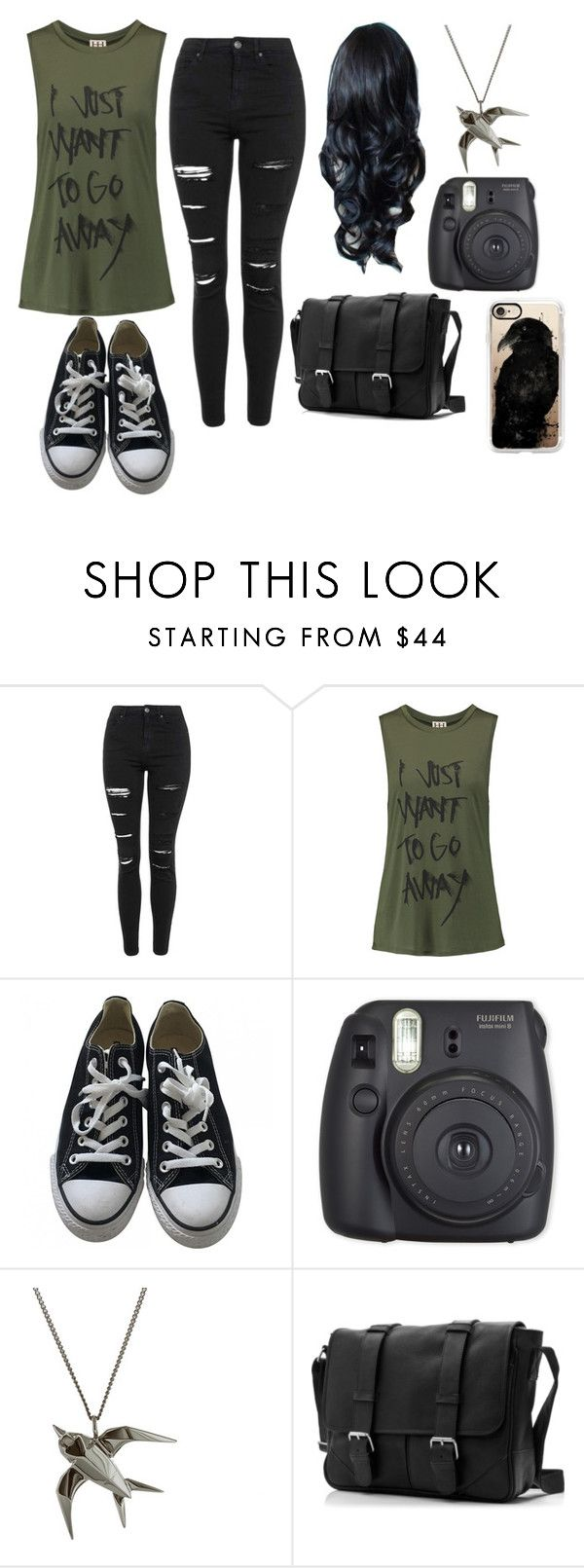 """""""1st Me"""" by happyfromfairytail ❤ liked on Polyvore featuring Topshop, Haute Hippie, Converse, Fuji and Casetify"""