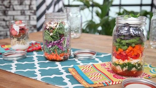 3 Healthy Meals in Mason Jars (Maple Cinnamon Crunch Overnight Oats + Detox Chicken Salad + Mexican Siesta Supper) — Recipes created by Kathy Smart of LiveTheSmartWay.com