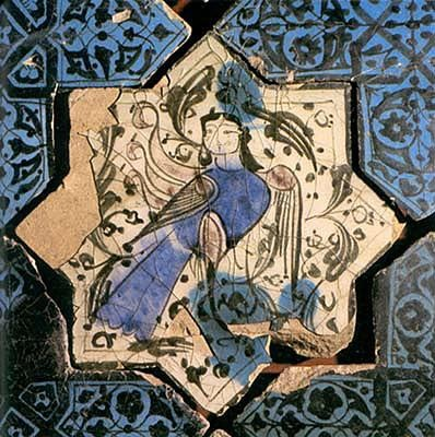Siren on a star-shaped tile, underglaze painting, Kubadabad palace, c. 1236, D. 22 cm. Karatay Madrasah Museum, Konya.
