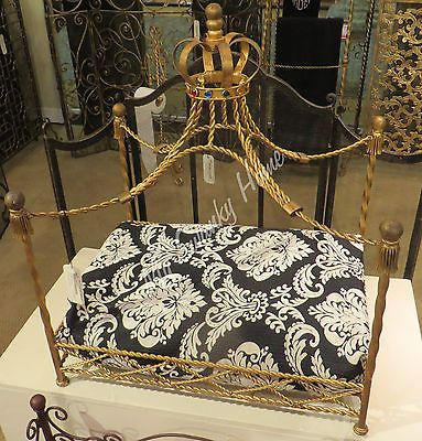 Luxury-Iron-Royal-GOLD-CROWN-Dog-Pet-Bed-Jeweled-Antique-Victorian-Cat-Canopy