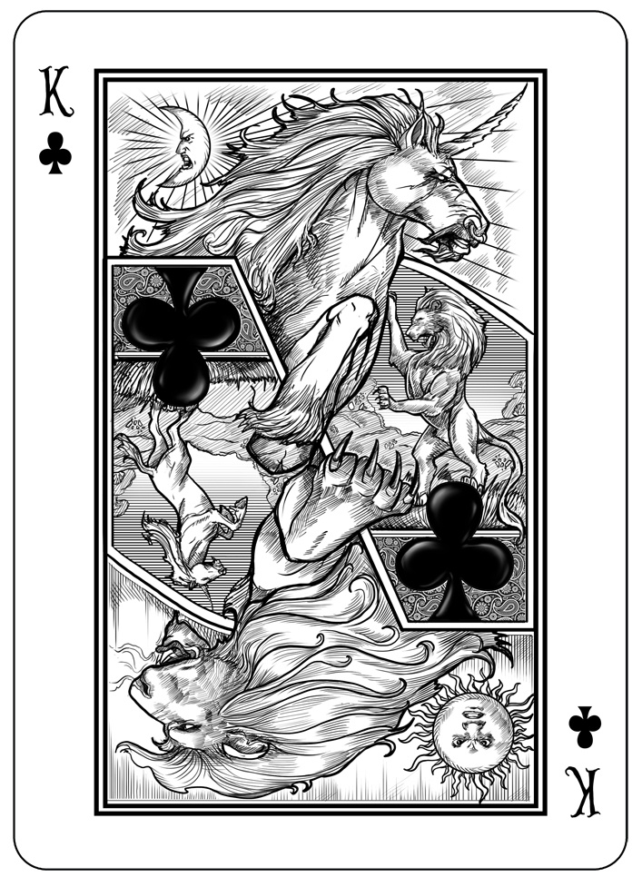 The Lion and the Unicorn from The Looking Glass Bicycle deck.