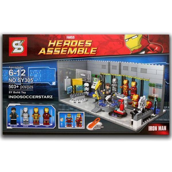 LEGO SY 305 Iron Man Laboratory with New Armor 2016 :  - Sudah termasuk Minifigure / Karakter LEGO : Tony Stark, Iron Man War Machine, Iron Man Mark 42, Iron Man Mark 7 - Tambahan New Armor untuk Iron Man - Dimensi Kemasan Produk : 47.5 cm x 7 cm x 28 cm ( P x L x T ) - Di lengkapi Buku Panduan Perakitan yang detail & mudah di mengerti - Bahan berkualitas super, rapi dan halus - Ready Stock - Merek SY ( Sheng Yuan ) - Merupakan mainan edukasi untuk meningkatkan daya kreativitas dan imaji...