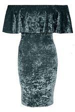New Womens OFF SHOULDER CRUSHED VELVET BARDOT FRILL Ladies Midi Dress UK 8-14