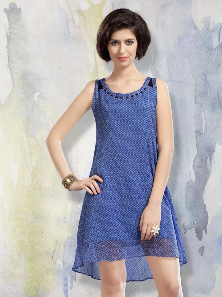 Designer Chiffon Blue Kurti Cum Dress